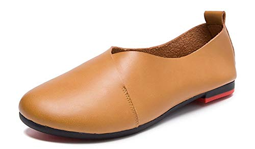 Kunsto Women's Genuine Leather Comfort Glove Shoes Ballet Flat US Size 8.5 Camel Brown (Ladies Brown Leather Gloves)