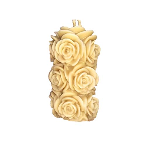 Havdalah candle with beeswax in the shape of a cylinder with bouquet of flower-vanilla fragrance.