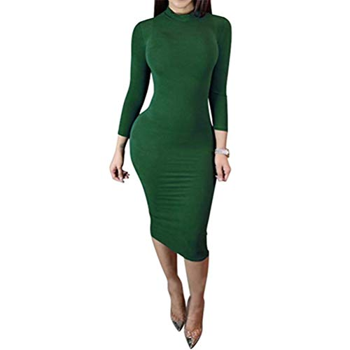 (laiyuan Women Turtleneck Long Sleeve Slim Bodycon Wrap Tunic Pencil Midi Dress L)