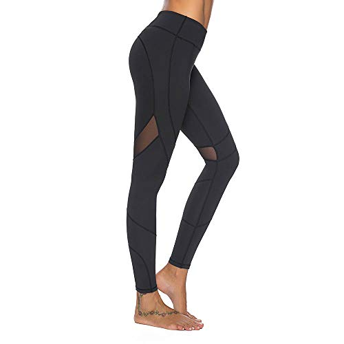 Mint Lilac Women's High Waist Full-Length Leggings Athletic Workout Pants Mesh Panelss Large Black
