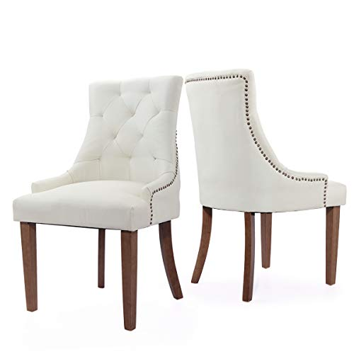LAZYMOON Beige Tufted Pattern Solid Wood Wingback Accent Dining Hostess Chairs with Nail Heads, Set of 2