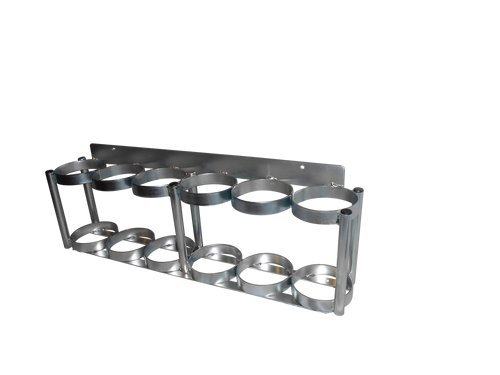 "FWF OXYGEN WALL MOUNTABLE AND VERSATILE RACK FOR 6 (D OR E STYLE) CYLINDERS DIAMETER 4.3"" MADE IN USA"