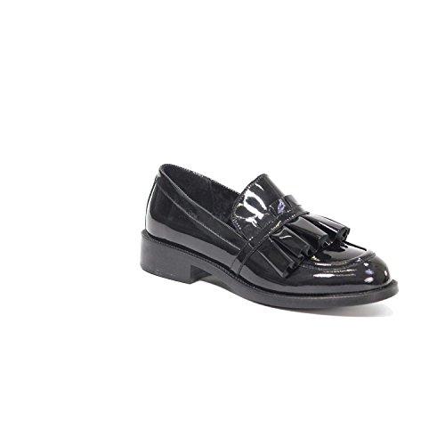Universidad Negro Cuero De Hecho 98i2 En Mujer Italia Zapato Frau Con Flecos OaxadqT