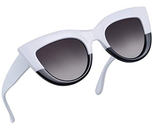 Joopin Retro Polarized Cateye Sunglasses - Women Vintage Cat Eye Sun Glasses UV400 Protection E8022 (White ()