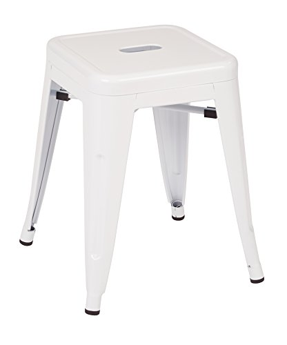 Work Smart OSP Designs PTR3018A4-11-osp Patterson 18 Metal Backless Stool in Solid Finish 4 Pack , White