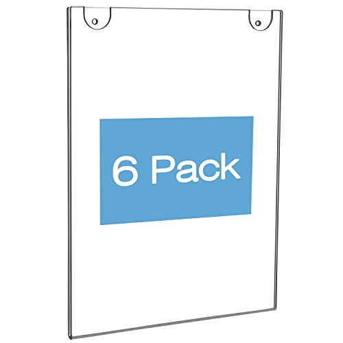 NIUBEE Acrylic Wall Mount Sign Holder 8.5 x 11 inch- Clear Ad Frames for Papers- Vertical (6 Pack) by NIUBEE