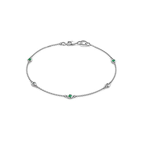 (TriJewels Petite Emerald and Diamond (SI2-I1, G-H) 5 Station Bracelet 0.21 cttw in 14K White Gold)