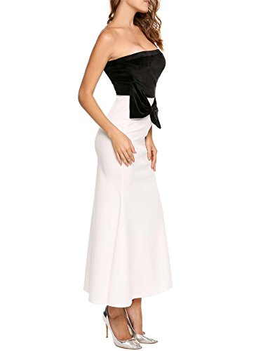 Women Velvet Patchwork Dress Fishtail ANGVNS Strapless Maxi Slim White Tube Bowknot dgOZqw