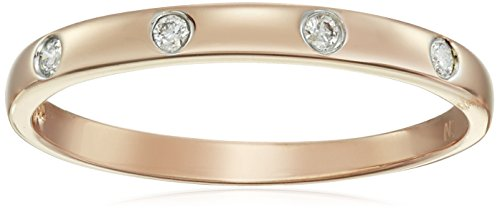 10k Rose Gold Diamond Accent Band, Size 6