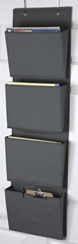 (Home Basics Over the Door Wall Mount Office Supplies Storage Organizer 4 Pockets Letter Size for Notebooks, Binders, Planners, File Folders, File Organizer, Folder/Wall Organizer (Gray) )