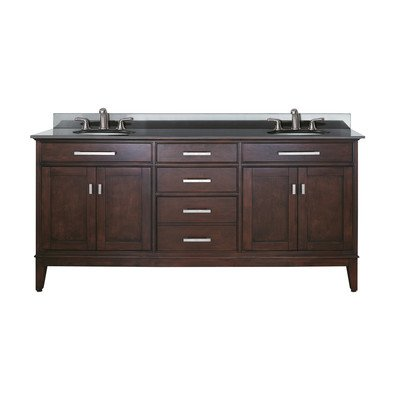 UPC 813361011895, Avanity Madison 72 in. Vanity with Black Granite Top and Double Sinks in Light Espresso finish