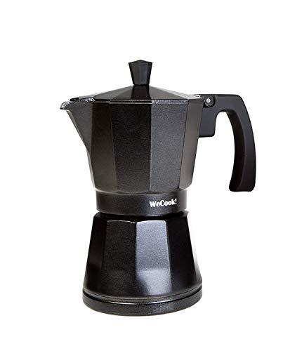 Wecook Cafetera aluminio LUCCIA apta inducción, 12 tazas, Cups, Acero Inoxidable, Negro