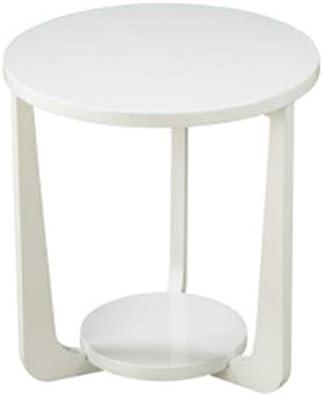 GWDJ サイドテーブル、ラウンド補強ベッドルームベッドサイドテーブル、リビングルームのソファーサイドテーブル、ソリッドウッドのバルコニーカジュアルコーヒーテーブル、フロアコンピュータデスク、3色 コーナーテーブル (色 : 白)