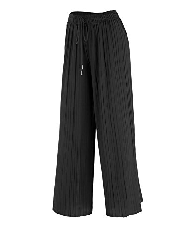 LL WB1818 Womens Pleated Gaucho Ankle Pants with Drawstring OS Black