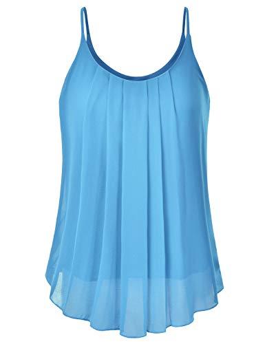 EIMIN Women's Pleated Chiffon Layered Sleeveless Cami Tank Tunic Top Turquoise L