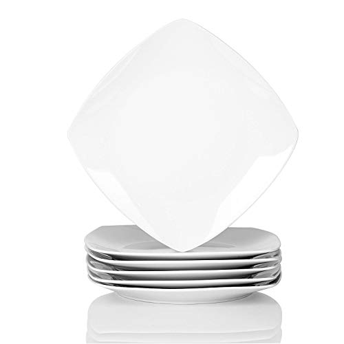 Malacasa, Series Julia, 6-Piece 9.75-Inch Cream White Ceramic Square Dinner Plates Porcelain Dessert Dishes Dinnerware Set]()