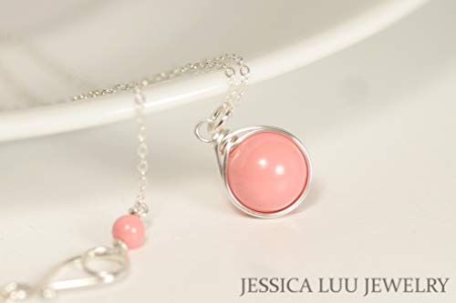 (Sterling Silver Necklace with Pink Coral Swarovski Pearl Pendant Wire Wrapped)