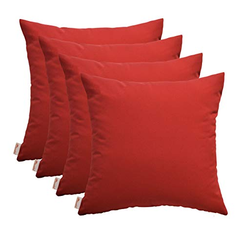 (RSH Décor Set of 4 Indoor/Outdoor Square Throw Pillows Sunbrella Canvas Jockey Red (24