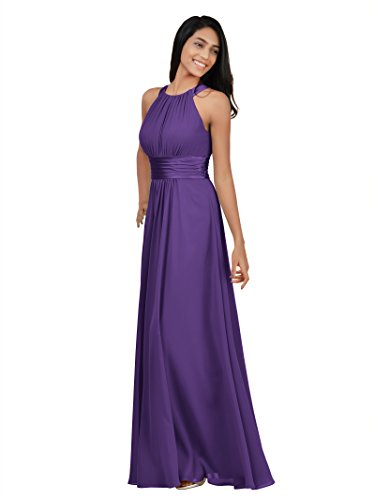 (Alicepub Chiffon Plus Size Bridesmaid Dresses Long for Women Formal Evening Party Prom Gown Halter, Regency,)