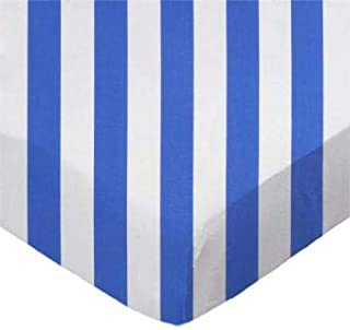 product image for SheetWorld 100% Cotton Percale Fitted Crib Toddler Sheet 28 x 52, Royal Blue Stripe, Made in USA