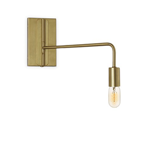(Brass Wall Sconce Lamp Light - Adjustable Swing Arm, Plugin and Hardwire Installation Options, Edison Bulb Included, Brooklyn Bulb Co. Hoyt Collection - ETL)