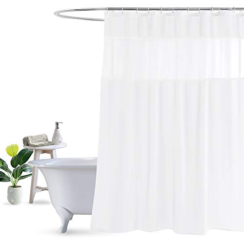 UFRIDAY Fabric White Shower Curtain with Mesh Window, Waterproof Bathroom Curtain with Weighted Bottom Hem, Machine Washable, 72 x 72 Inch