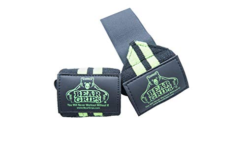 Bear Grips: II-band wrist wraps, wrist support for wods, weight lifting, wrist brace (Green, 24