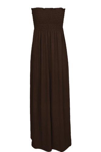 De mujer con Maxi vestido Oromiss elástico con una tira de sin tirantes vestidos de damas de panel inferior sin tirantes diseño de larga Reunidos marrón