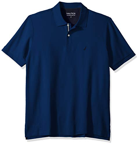 Nautica Men's Classic Fit Short Sleeve Solid Performance Deck Polo Shirt, Estate Blue, 2X Big