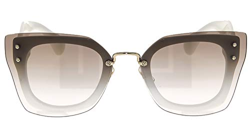 (MIU MIU REVEAL Shield Square Sunglasses MU04RS White Brown 04R)