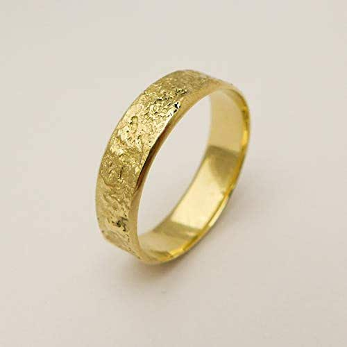 Amazon Com Unique Wedding Band Handmade Of 14k 18k Solid Yellow Rose Or White Gold Artisan Wide Rustic Ring For Men And Women Handmade
