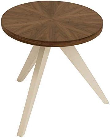 Nieuwe Manierstijl Van Bijzettafel rond, notenhout TABLET, ronde houten tafel van MDF - notenhout decor, poten wit gelakt  zxxQgOI