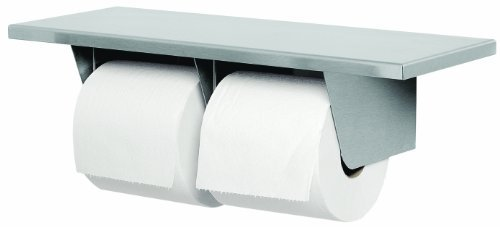 Bradley 5263-000000 Gauge Stainless Steel Toilet Tissue Dispenser with Shelf, 16 Width x 3-15/16 Height x 6 Depth by Bradley by Bradley Corporation