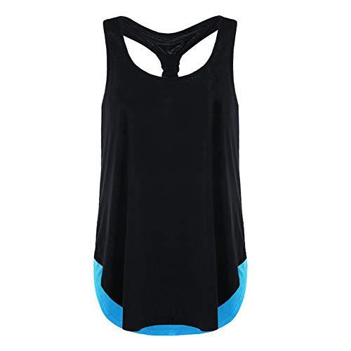 iLUGU Women Summer Vest Top Sleeveless Racer Back Blouse Casual Tanks T Shirt Cami Blue by iLUGU (Image #4)
