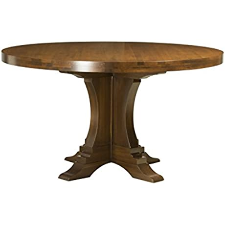 Saloom Furniture MDWO 4848 1 BRI Nantucket D Bristol Round Maple Extendable Dining Table 48 Diameter Distressed Nantucket Finish