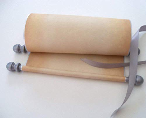Wide blank scroll for handwritten vows, calligraphy or prop, silver accents, 8x17