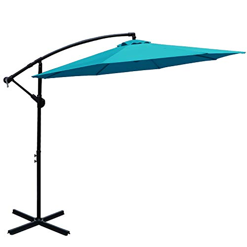ABCCANOPY 10 FT Hanging Umbrella Cantilever Umbrella Offset Patio Umbrella Outdoor Market Umbrella Easy Open Lift 360 Degree Rotation (Turquoise) For Sale