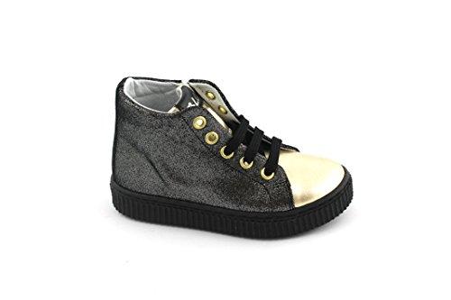 Balocchi BLC 976 538 25/29 Carnaby Zapatos Negros Chica Brillo Bandas de Sujeción Nero