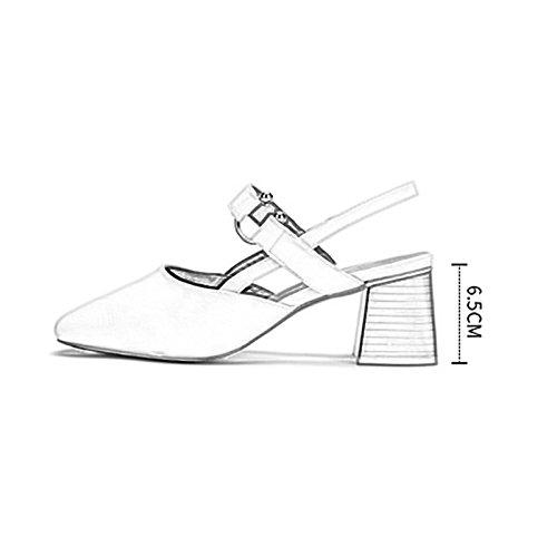Unie Baotou 36 Chaussures Taille Pastorale Couleur Femmes avec Chaussures Couleur Mode Casual Sauvages Chaussures Noir Chaussures des Britannique WENJUN Douces De Carrée Noir Simples Travail BfYn0