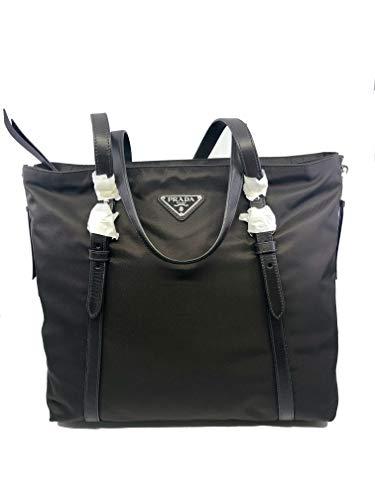 Prada Brown Tessuto Nylon Soft Calf Leather Trim Shopping Tote Handbag 1BG228 ()