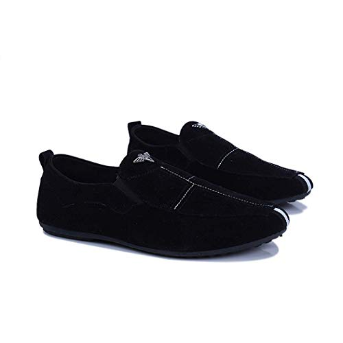 En Los Ocasionales La Slip Del Conducción De Mocasines Holgazanes Hombres Negro Ante Zapatos Planos wgU0qtwfnS