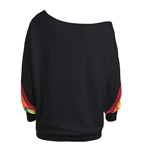 Lunghe Felpa Ragazza Camicia A Donna Tee da Nero Camicia da Pullover Top Donna Casual Maglietta Maniche Arcobaleno Donna Kword YBwqq