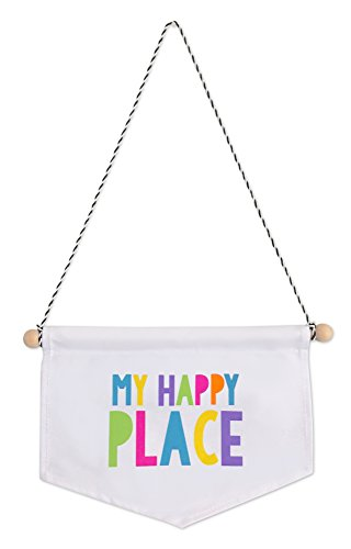Tiny Hideaways My Happy Place Canvas Banner for Kids Playroom, Bedroom, and Teepee Tent