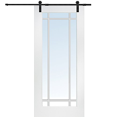 National Door Company Z009562 Primed MDF 9 Lite True Divided Clear Glass 36'' x 80'', Barn Door Unit by National Door Company