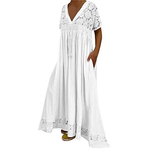 Nuewofally Women's Long Maxi Dress Short Sleeve Bohemian Long Dresses Cotton Mesh High Waist Night Club Party Dress (White,3XL) ()