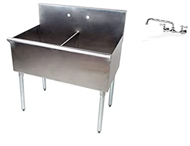 Amazon.com: Fregadero de 2 compartimentos de acero ...