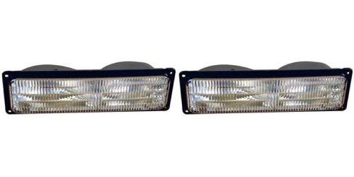 Go-Parts PAIR/SET - Compatible 1994-2002 Chevrolet (Chevy) C + K Pickup Parking + Signal Lights Assemblies/Lens Cover - Left & Right (Driver & Passenger) Replacement For Chevrolet Pickup