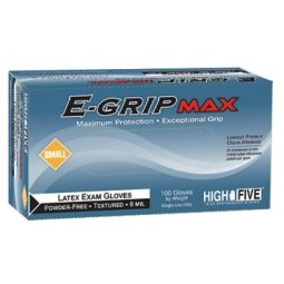 High Five E-Grip Max L921 Series L92Latex Exam Glove, Small (Case of 10) by High Five
