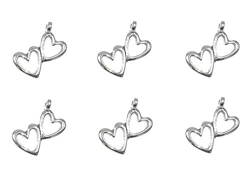 50pcs Double-Heart Hollow-Out Charm Heart-to-Heart Pendant for DIY Necklace Bracelet Jewelry Making Findings(Antique Silver Tone) ()