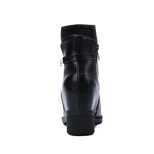 AllhqFashion Womens PU Low-Top Solid Zipper High Heels Boots Black XcePM4fmQy